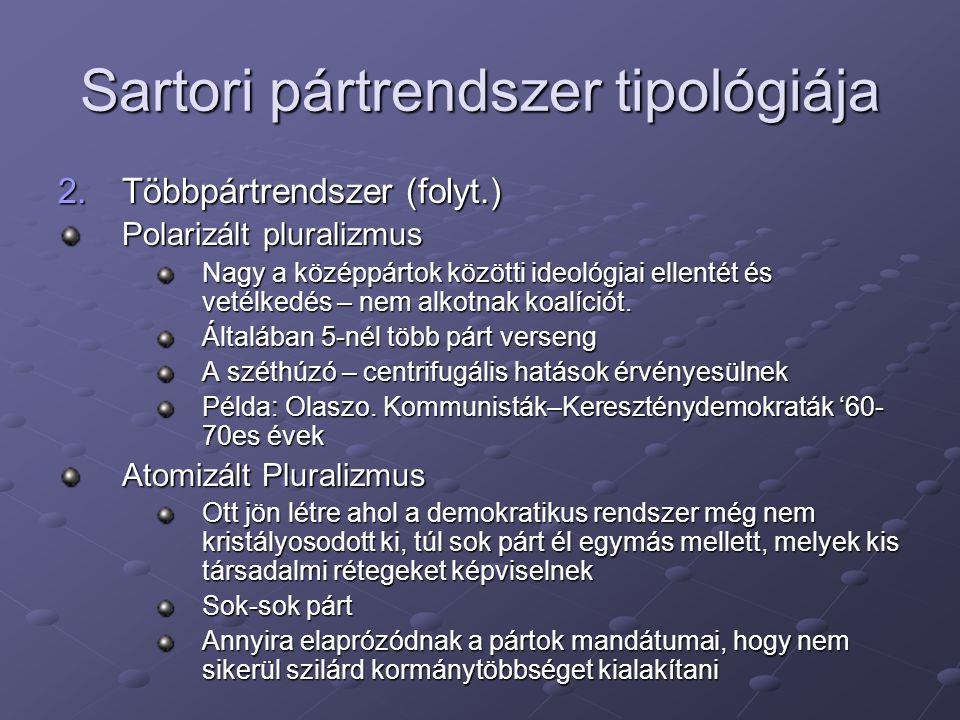 Sartori pártrendszer tipológiája 2.Többpártrendszer (folyt.) Polarizált pluralizmus Nagy a középpártok közötti ideológiai ellentét és vetélkedés – nem