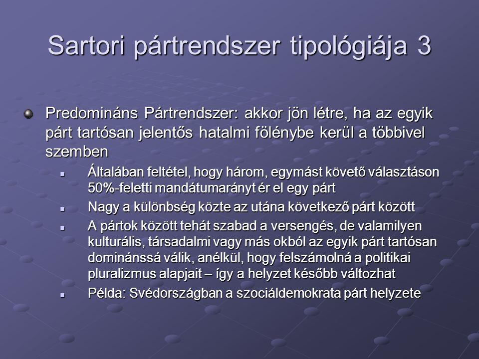 Sartori pártrendszer tipológiája 3 Predomináns Pártrendszer: akkor jön létre, ha az egyik párt tartósan jelentős hatalmi fölénybe kerül a többivel sze