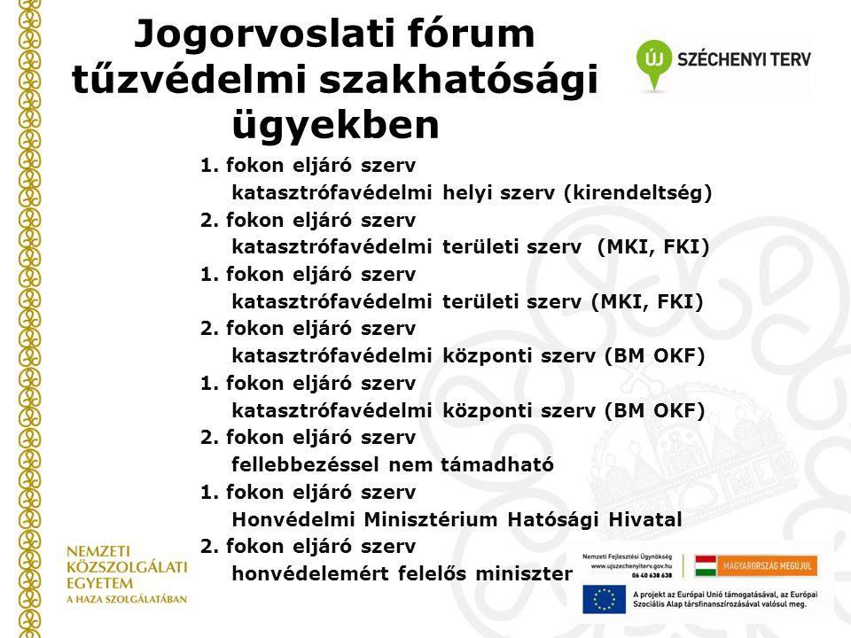 Jogorvoslati fórum tűzvédelmi szakhatósági ügyekben 1. fokon eljáró szerv katasztrófavédelmi helyi szerv (kirendeltség) 2. fokon eljáró szerv katasztr