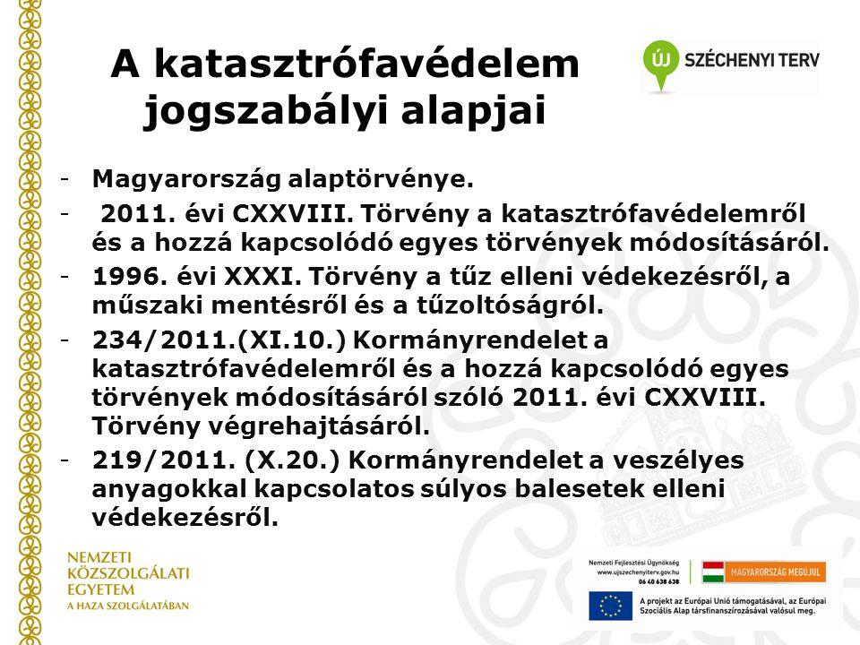 A katasztrófavédelem jogszabályi alapjai -Magyarország alaptörvénye. - 2011. évi CXXVIII. Törvény a katasztrófavédelemről és a hozzá kapcsolódó egyes