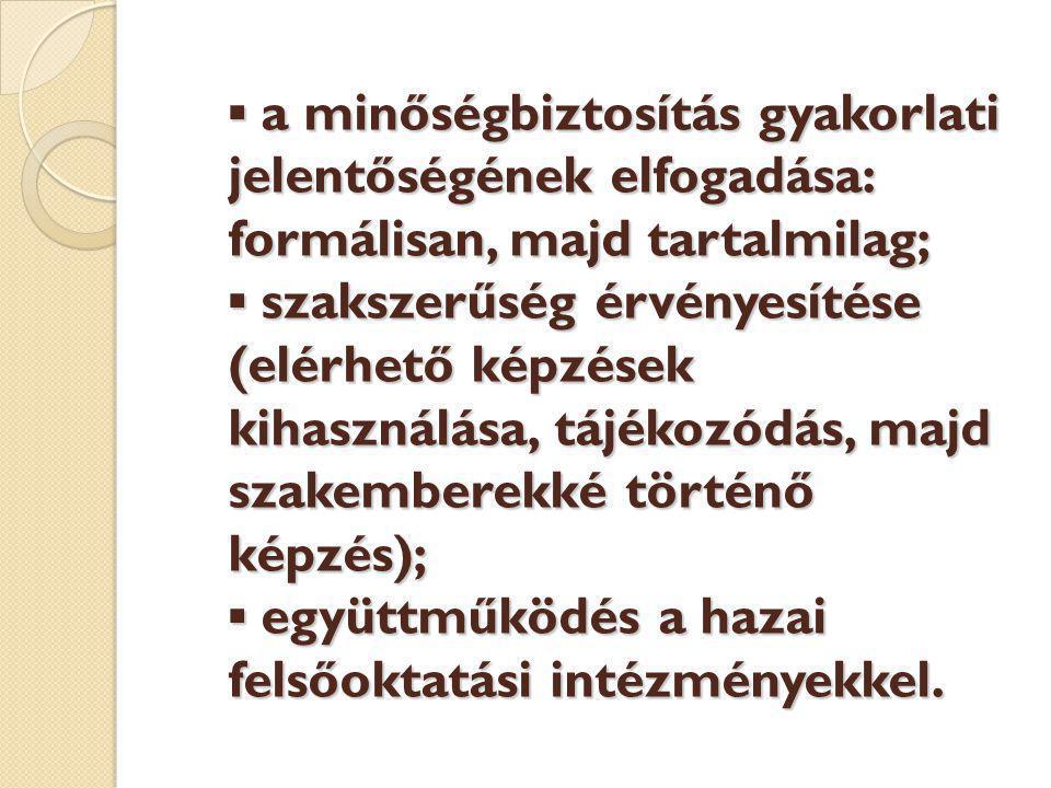 ▪ a minőségbiztosítás gyakorlati jelentőségének elfogadása: formálisan, majd tartalmilag; ▪ szakszerűség érvényesítése (elérhető képzések kihasználása, tájékozódás, majd szakemberekké történő képzés); ▪ együttműködés a hazai felsőoktatási intézményekkel.