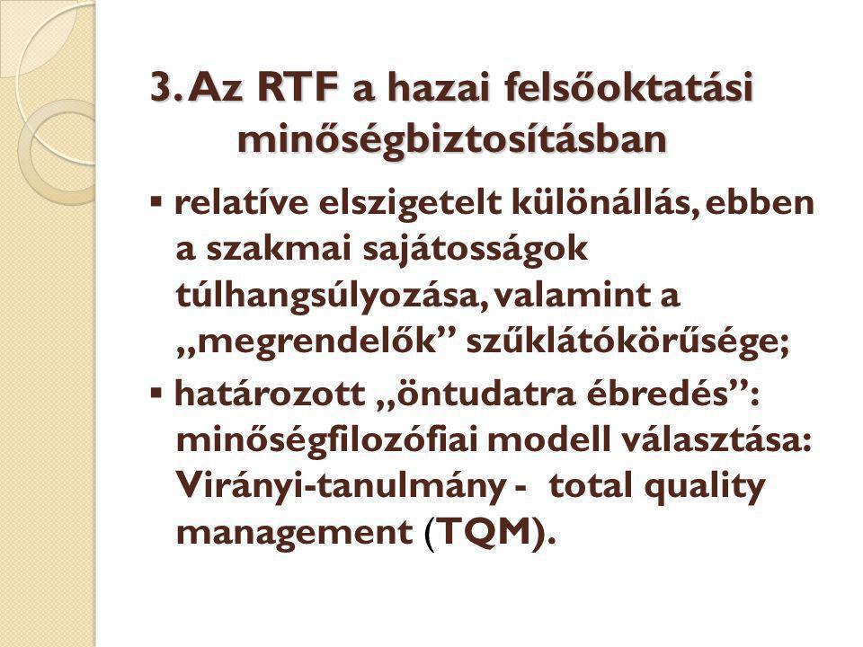 """3. Az RTF a hazai felsőoktatási minőségbiztosításban ▪ relatíve elszigetelt különállás, ebben a szakmai sajátosságok túlhangsúlyozása, valamint a """"meg"""
