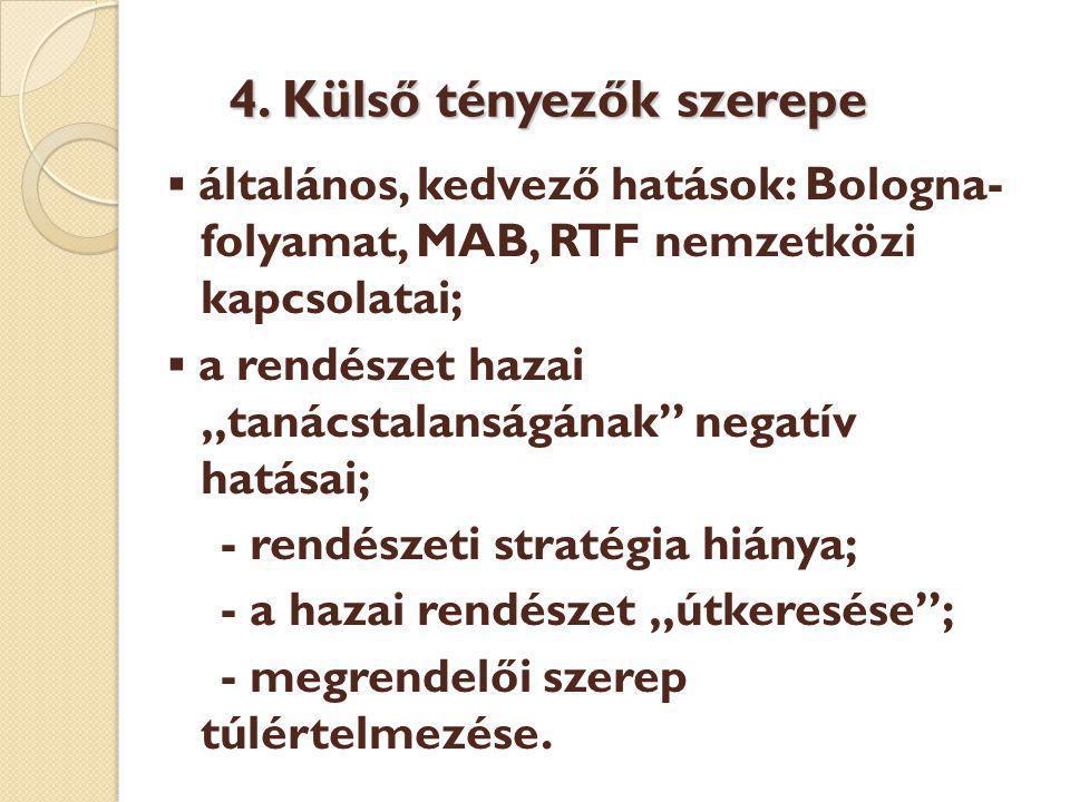 4. Külső tényezők szerepe 4.