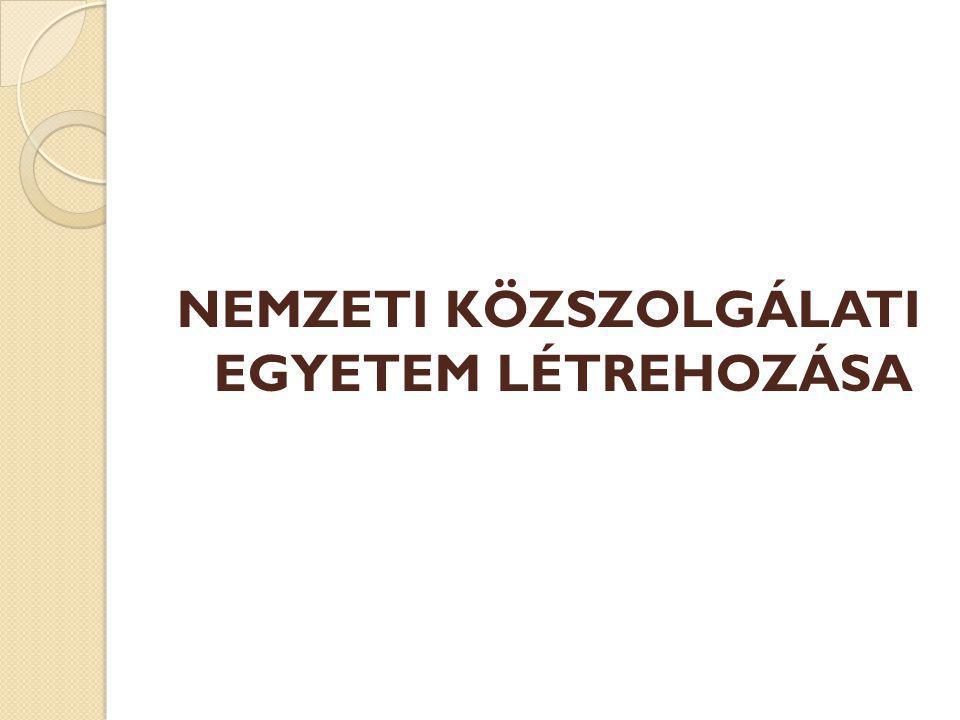 NEMZETI KÖZSZOLGÁLATI EGYETEM LÉTREHOZÁSA