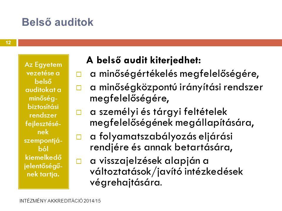 INTÉZMÉNY AKKREDITÁCIÓ 2014/15 Belső auditok Az Egyetem vezetése a belső auditokat a minőség- biztosítási rendszer fejlesztésé- nek szempontjá- ból kiemelkedő jelentőségű- nek tartja.
