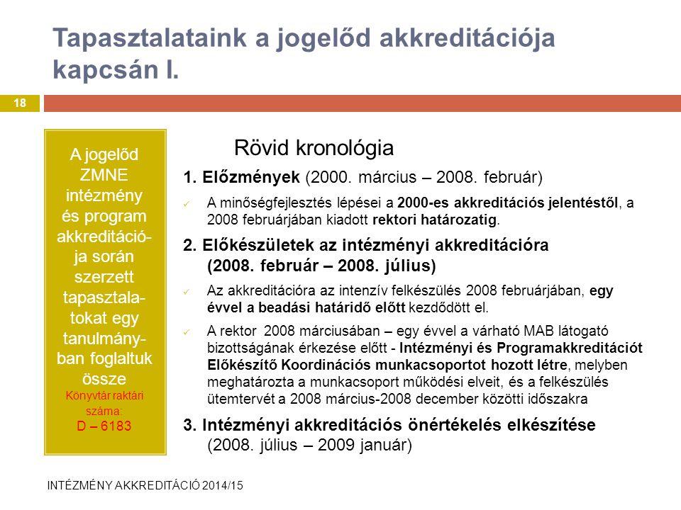 INTÉZMÉNY AKKREDITÁCIÓ 2014/15 Tapasztalataink a jogelőd akkreditációja kapcsán I.