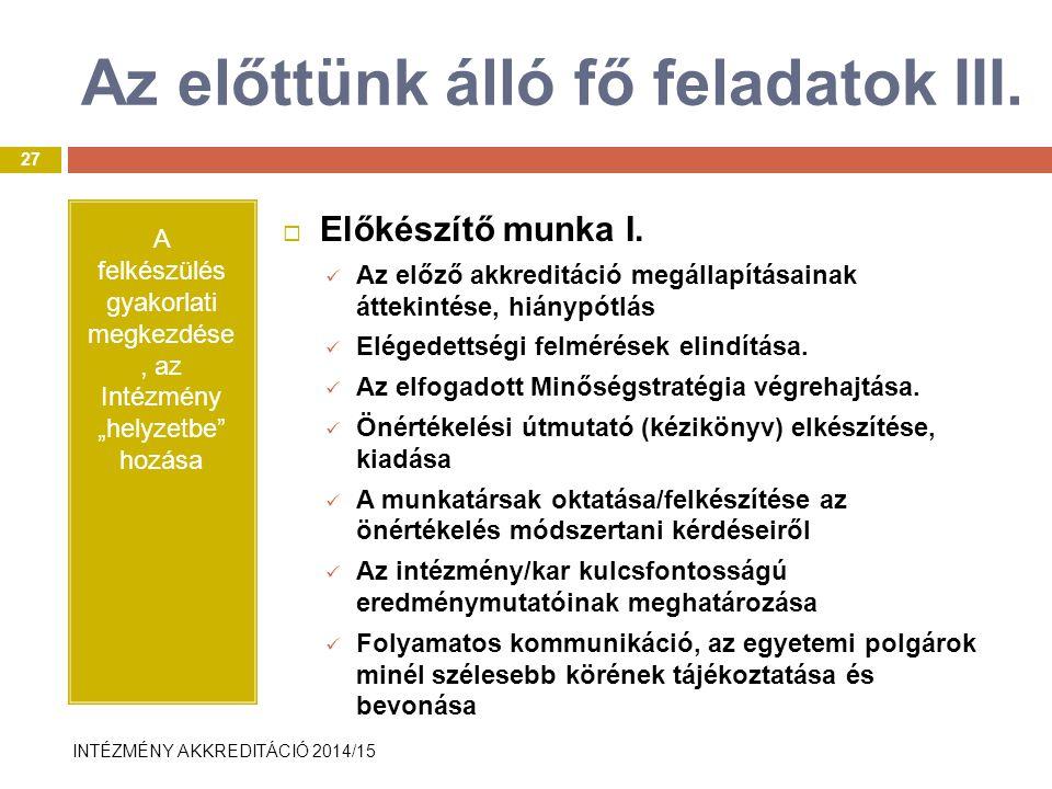 INTÉZMÉNY AKKREDITÁCIÓ 2014/15 Az előttünk álló fő feladatok III.