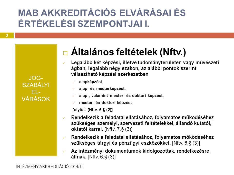 INTÉZMÉNY AKKREDITÁCIÓ 2014/15 EvaSys rendszer bemutatása I.