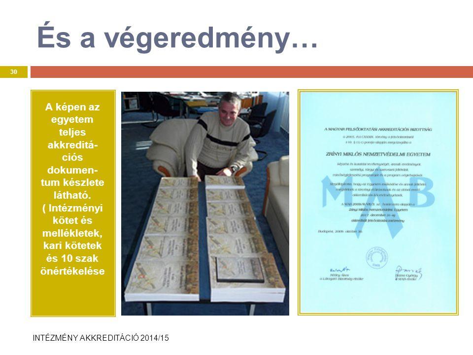 INTÉZMÉNY AKKREDITÁCIÓ 2014/15 És a végeredmény… A képen az egyetem teljes akkreditá- ciós dokumen- tum készlete látható.