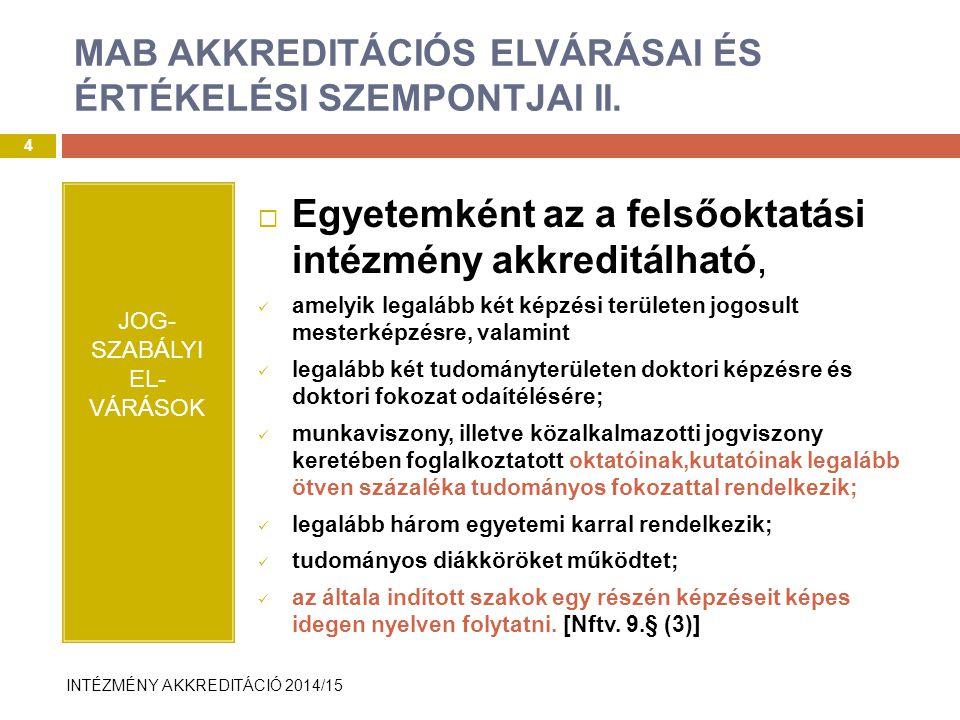 INTÉZMÉNY AKKREDITÁCIÓ 2014/15 EvaSys rendszer bemutatása II.