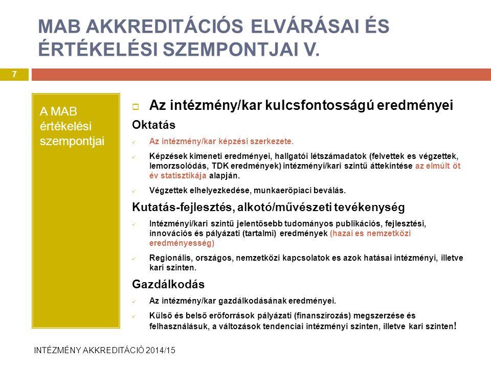 INTÉZMÉNY AKKREDITÁCIÓ 2014/15 A MAB értékelési szempontjai  Az intézmény/kar kulcsfontosságú eredményei Oktatás Az intézmény/kar képzési szerkezete.