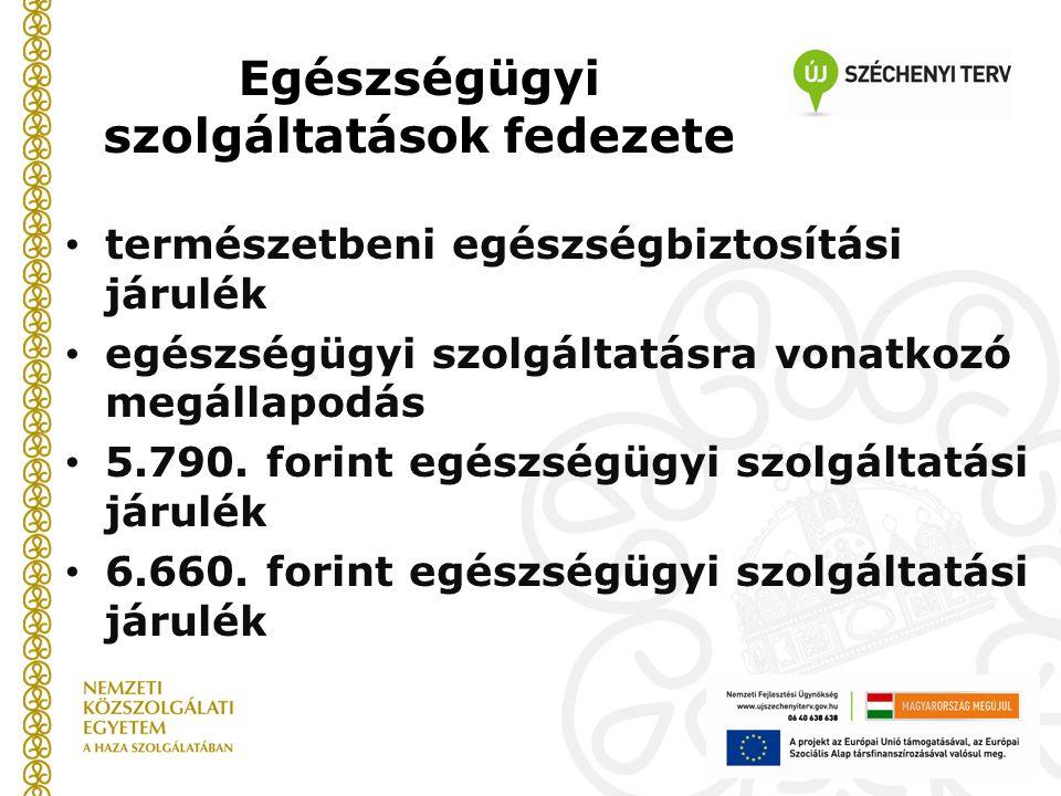 Egészségügyi szolgáltatások fedezete természetbeni egészségbiztosítási járulék egészségügyi szolgáltatásra vonatkozó megállapodás 5.790. forint egészs