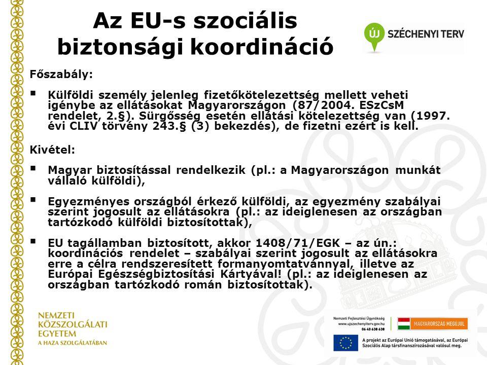 Főszabály:  Külföldi személy jelenleg fizetőkötelezettség mellett veheti igénybe az ellátásokat Magyarországon (87/2004. ESzCsM rendelet, 2.§). Sürgő