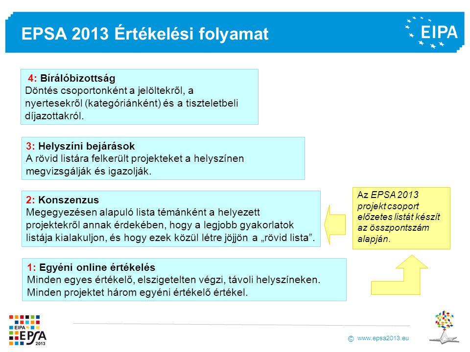 www.epsa2013.eu © EPSA 2013 Értékelési folyamat 1: Egyéni online értékelés Minden egyes értékelő, elszigetelten végzi, távoli helyszíneken. Minden pro