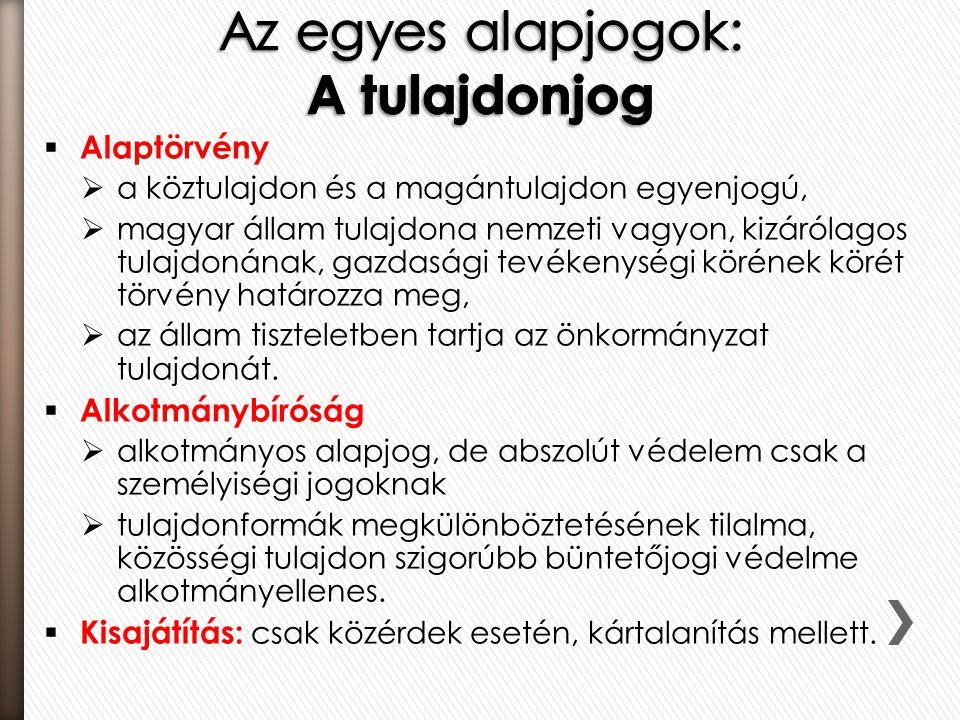  Alaptörvény  a köztulajdon és a magántulajdon egyenjogú,  magyar állam tulajdona nemzeti vagyon, kizárólagos tulajdonának, gazdasági tevékenységi