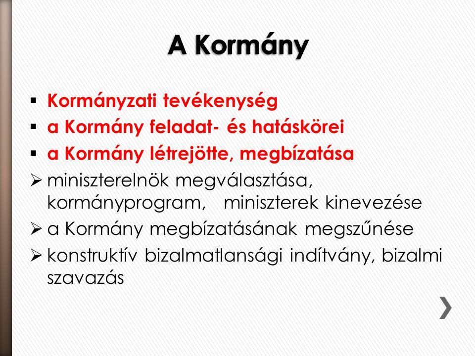  Kormányzati tevékenység  a Kormány feladat- és hatáskörei  a Kormány létrejötte, megbízatása  miniszterelnök megválasztása, kormányprogram, minis
