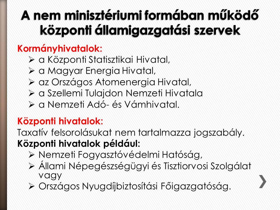 Kormányhivatalok:  a Központi Statisztikai Hivatal,  a Magyar Energia Hivatal,  az Országos Atomenergia Hivatal,  a Szellemi Tulajdon Nemzeti Hiva