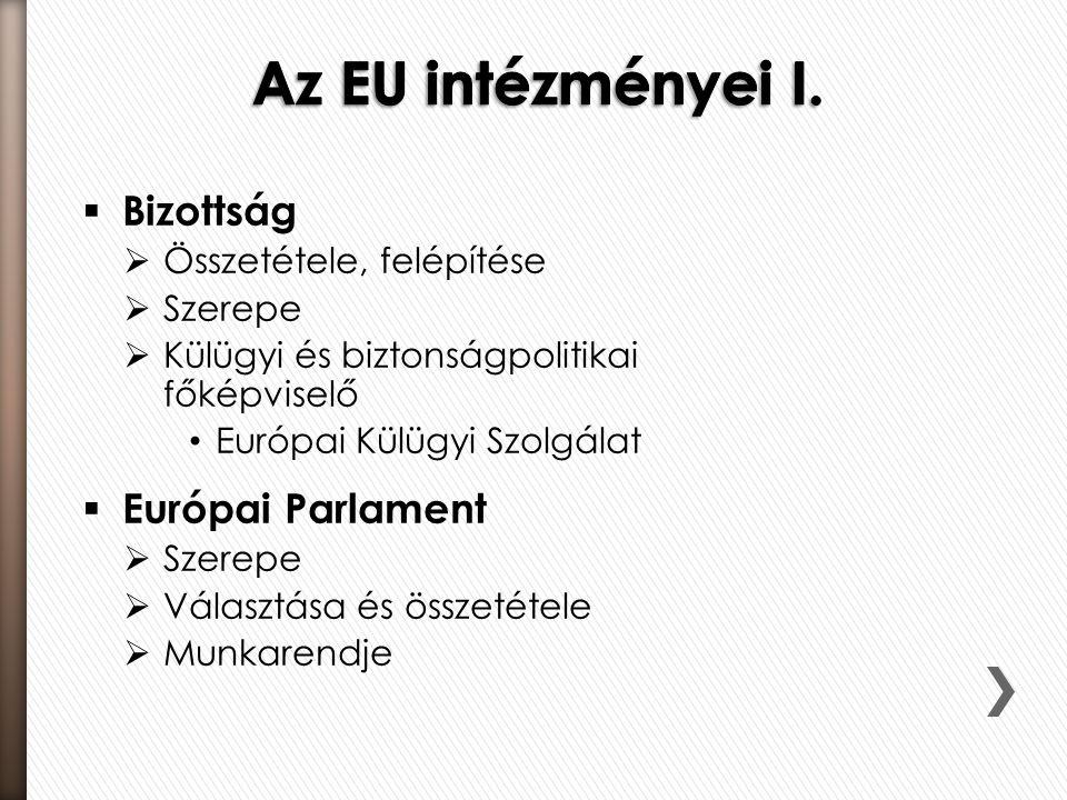  Bizottság  Összetétele, felépítése  Szerepe  Külügyi és biztonságpolitikai főképviselő Európai Külügyi Szolgálat  Európai Parlament  Szerepe  Választása és összetétele  Munkarendje