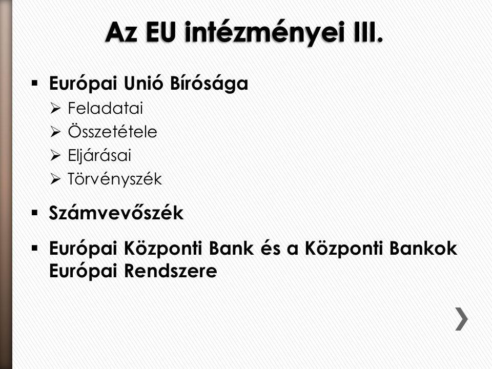  Európai Unió Bírósága  Feladatai  Összetétele  Eljárásai  Törvényszék  Számvevőszék  Európai Központi Bank és a Központi Bankok Európai Rendszere