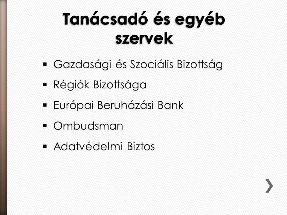  Gazdasági és Szociális Bizottság  Régiók Bizottsága  Európai Beruházási Bank  Ombudsman  Adatvédelmi Biztos