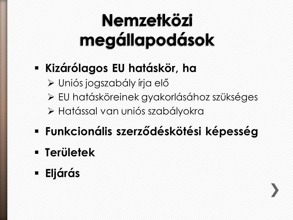  Kizárólagos EU hatáskör, ha  Uniós jogszabály írja elő  EU hatásköreinek gyakorlásához szükséges  Hatással van uniós szabályokra  Funkcionális szerződéskötési képesség  Területek  Eljárás