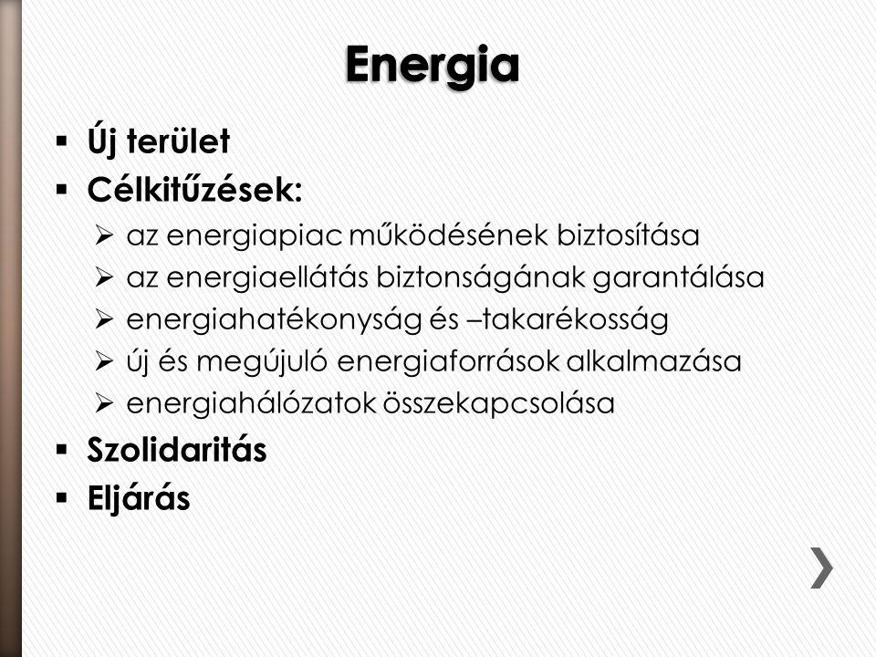  Új terület  Célkitűzések:  az energiapiac működésének biztosítása  az energiaellátás biztonságának garantálása  energiahatékonyság és –takarékosság  új és megújuló energiaforrások alkalmazása  energiahálózatok összekapcsolása  Szolidaritás  Eljárás