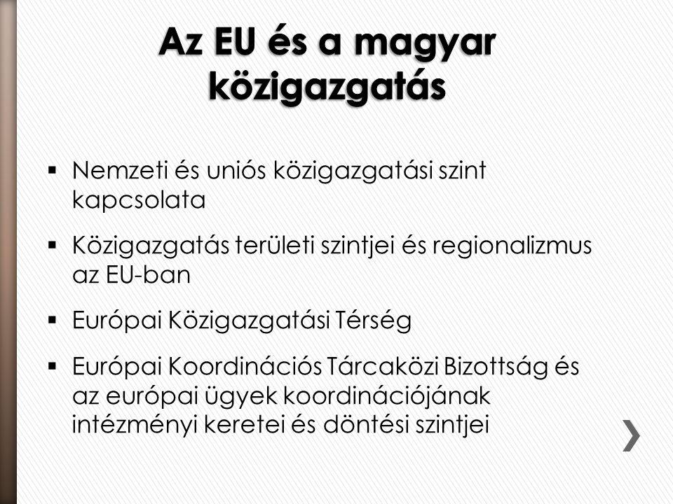  Nemzeti és uniós közigazgatási szint kapcsolata  Közigazgatás területi szintjei és regionalizmus az EU-ban  Európai Közigazgatási Térség  Európai Koordinációs Tárcaközi Bizottság és az európai ügyek koordinációjának intézményi keretei és döntési szintjei
