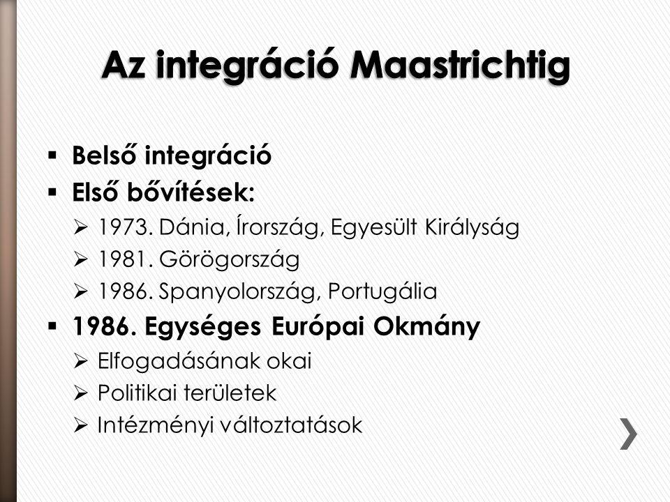  Belső integráció  Első bővítések:  1973.Dánia, Írország, Egyesült Királyság  1981.