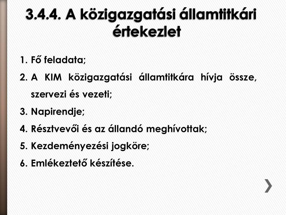 1.Fő feladata; 2.A KIM közigazgatási államtitkára hívja össze, szervezi és vezeti; 3.Napirendje; 4.Résztvevői és az állandó meghívottak; 5.Kezdeményez