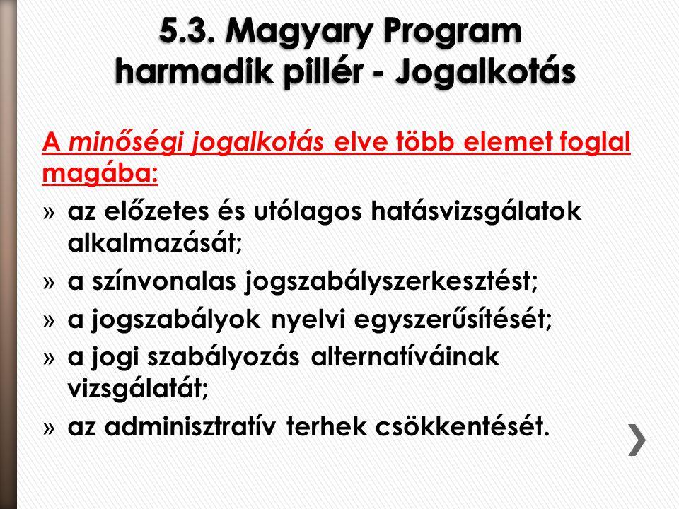 A minőségi jogalkotás elve több elemet foglal magába: » az előzetes és utólagos hatásvizsgálatok alkalmazását; » a színvonalas jogszabályszerkesztést;