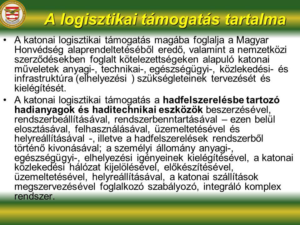 A logisztikai támogatás tartalma A katonai logisztikai támogatás magába foglalja a Magyar Honvédség alaprendeltetéséből eredő, valamint a nemzetközi szerződésekben foglalt kötelezettségeken alapuló katonai műveletek anyagi-, technikai-, egészségügyi-, közlekedési- és infrastruktúra (elhelyezési ) szükségleteinek tervezését és kielégítését.