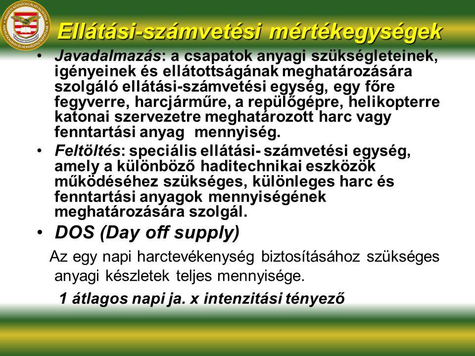 Ellátási-számvetési mértékegységek Javadalmazás: a csapatok anyagi szükségleteinek, igényeinek és ellátottságának meghatározására szolgáló ellátási-sz