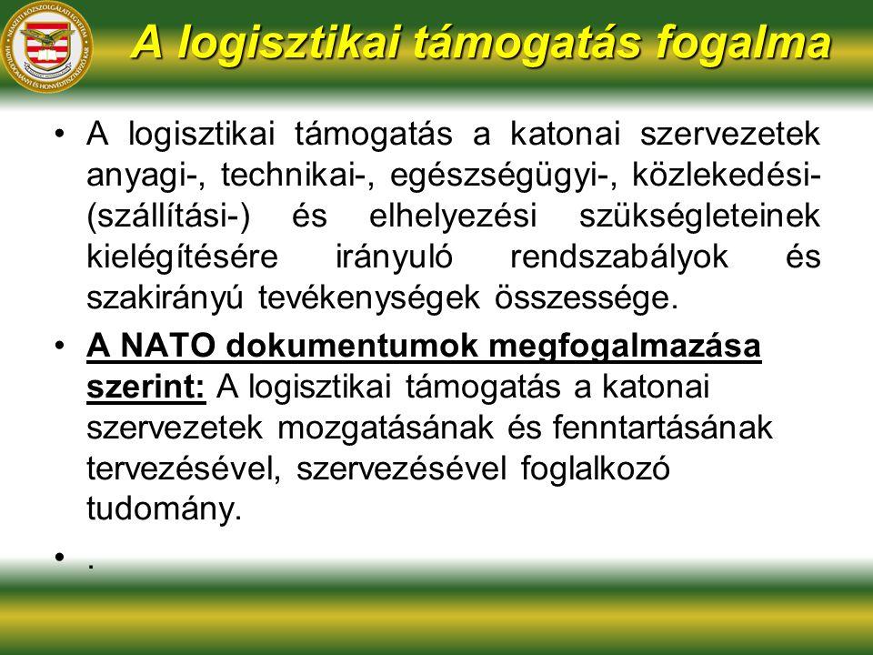 A logisztikai támogatás fogalma A logisztikai támogatás a katonai szervezetek anyagi-, technikai-, egészségügyi-, közlekedési- (szállítási-) és elhelyezési szükségleteinek kielégítésére irányuló rendszabályok és szakirányú tevékenységek összessége.
