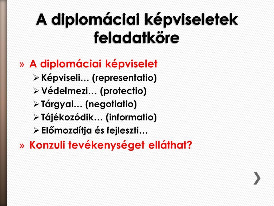 » A diplomáciai képviselet  Képviseli… (representatio)  Védelmezi… (protectio)  Tárgyal… (negotiatio)  Tájékozódik… (informatio)  Előmozdítja és fejleszti… » Konzuli tevékenységet elláthat?