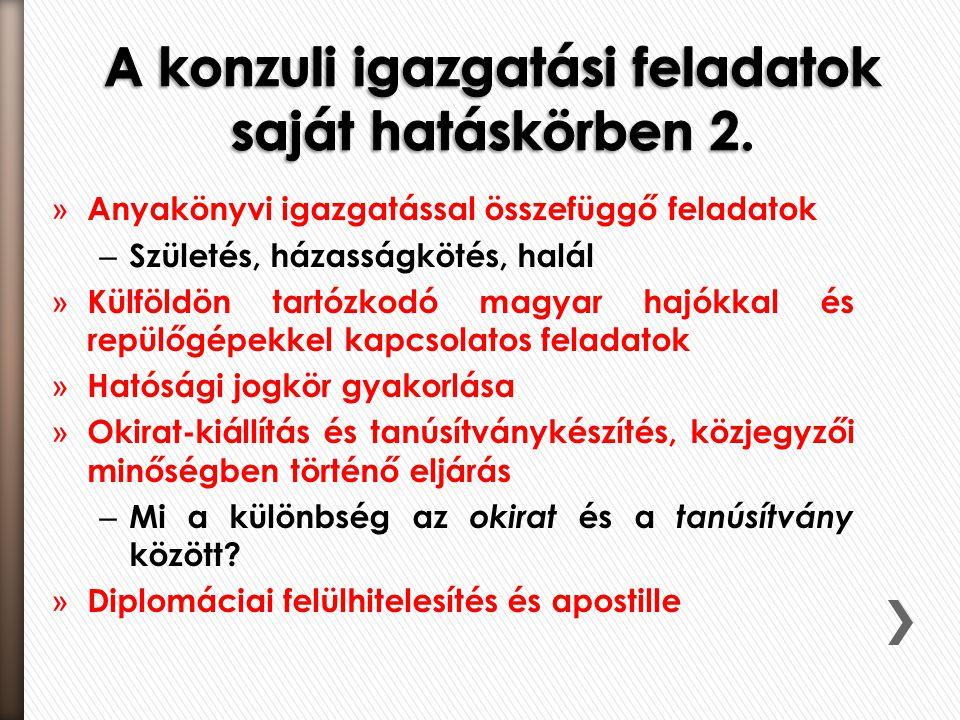 » Anyakönyvi igazgatással összefüggő feladatok – Születés, házasságkötés, halál » Külföldön tartózkodó magyar hajókkal és repülőgépekkel kapcsolatos feladatok » Hatósági jogkör gyakorlása » Okirat-kiállítás és tanúsítványkészítés, közjegyzői minőségben történő eljárás – Mi a különbség az okirat és a tanúsítvány között.