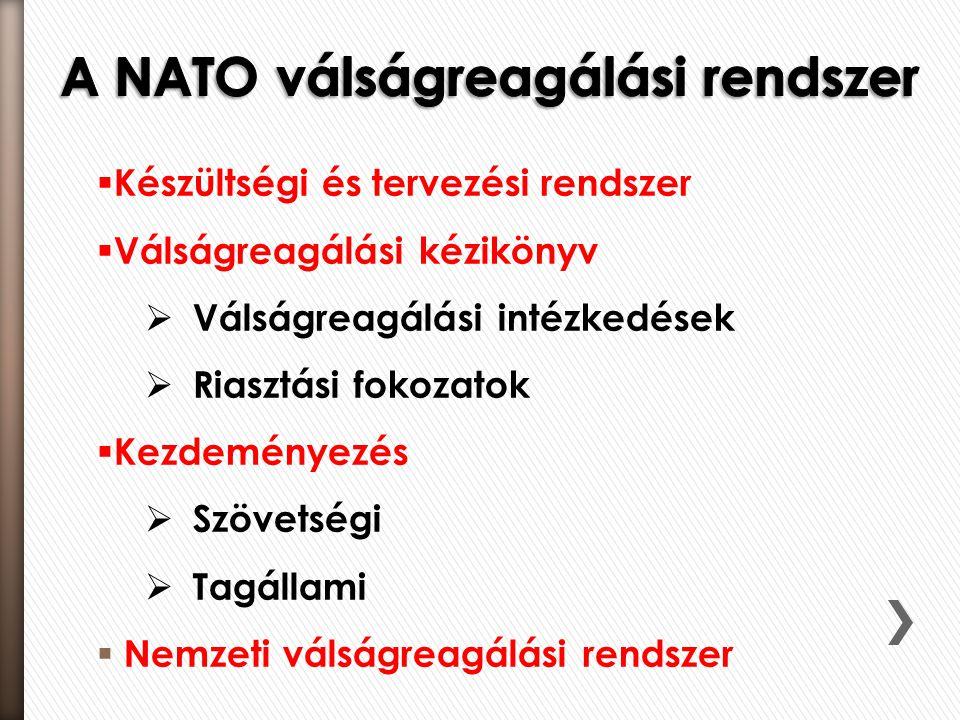  Készültségi és tervezési rendszer  Válságreagálási kézikönyv  Válságreagálási intézkedések  Riasztási fokozatok  Kezdeményezés  Szövetségi  Tagállami  Nemzeti válságreagálási rendszer