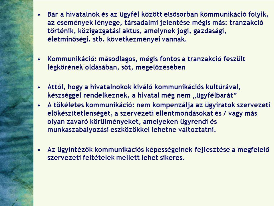 A hivatali kommunikáció általános alapfeltételei: egyértelmű szabályok, világos követelmények, az egyenlőség biztosítása, ill.