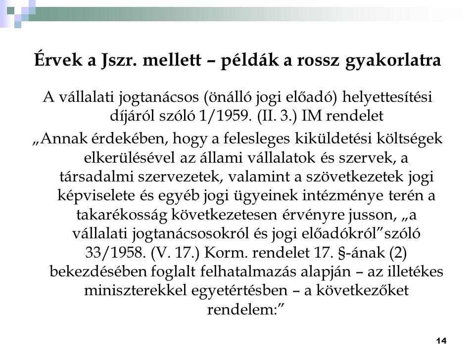 Érvek a Jszr. mellett – példák a rossz gyakorlatra A vállalati jogtanácsos (önálló jogi előadó) helyettesítési díjáról szóló 1/1959. (II. 3.) IM rende