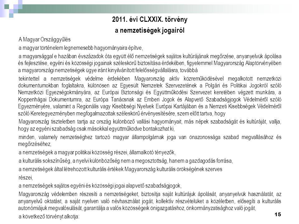 2011. évi CLXXIX. törvény a nemzetiségek jogairól A Magyar Országgyűlés a magyar történelem legnemesebb hagyományaira építve, a magyarsággal e hazában