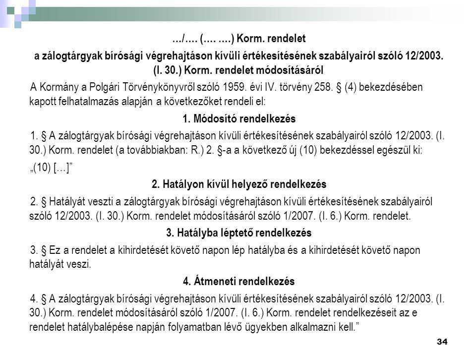…/…. (…. ….) Korm. rendelet a zálogtárgyak bírósági végrehajtáson kívüli értékesítésének szabályairól szóló 12/2003. (I. 30.) Korm. rendelet módosítás