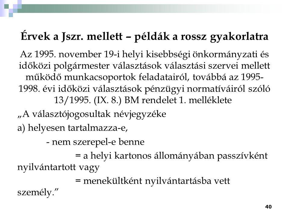 Érvek a Jszr. mellett – példák a rossz gyakorlatra Az 1995. november 19-i helyi kisebbségi önkormányzati és időközi polgármester választások választás