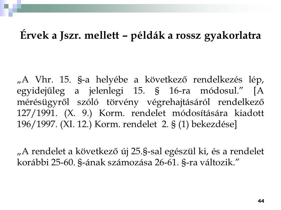 """Érvek a Jszr. mellett – példák a rossz gyakorlatra """"A Vhr. 15. §-a helyébe a következő rendelkezés lép, egyidejűleg a jelenlegi 15. § 16-ra módosul."""""""