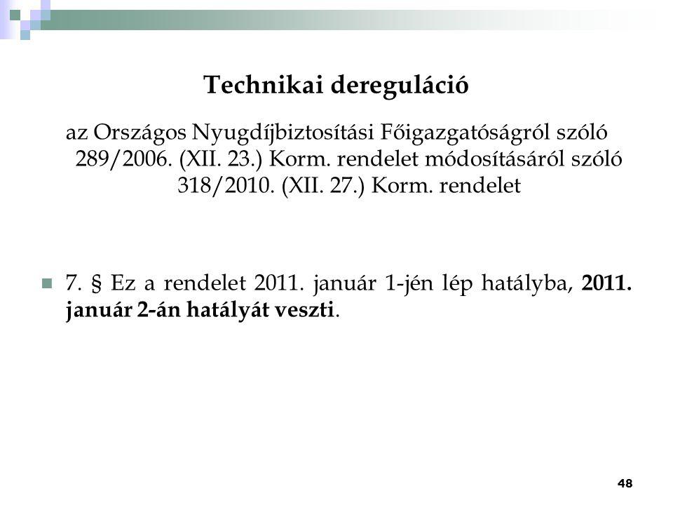 Technikai dereguláció az Országos Nyugdíjbiztosítási Főigazgatóságról szóló 289/2006. (XII. 23.) Korm. rendelet módosításáról szóló 318/2010. (XII. 27