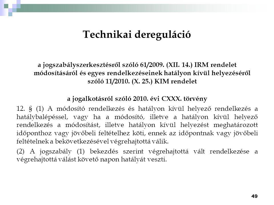 Technikai dereguláció a jogszabályszerkesztésről szóló 61/2009. (XII. 14.) IRM rendelet módosításáról és egyes rendelkezéseinek hatályon kívül helyezé