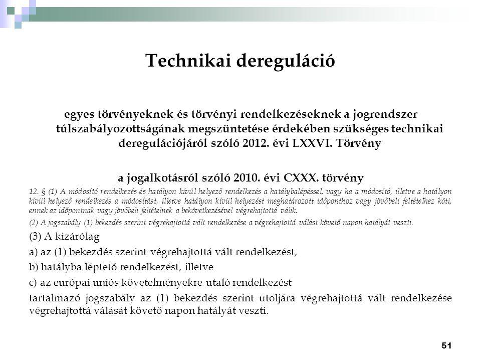 Technikai dereguláció egyes törvényeknek és törvényi rendelkezéseknek a jogrendszer túlszabályozottságának megszüntetése érdekében szükséges technikai