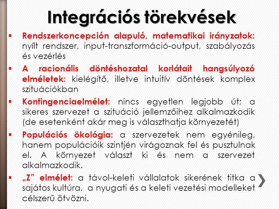 Integrációs törekvések  Rendszerkoncepción alapuló, matematikai irányzatok: nyílt rendszer, input-transzformáció-output, szabályozás és vezérlés  A