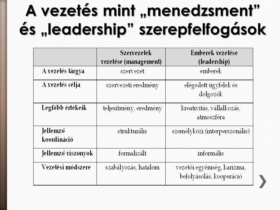 """A vezetés mint """"menedzsment"""" és """"leadership"""" szerepfelfogások"""