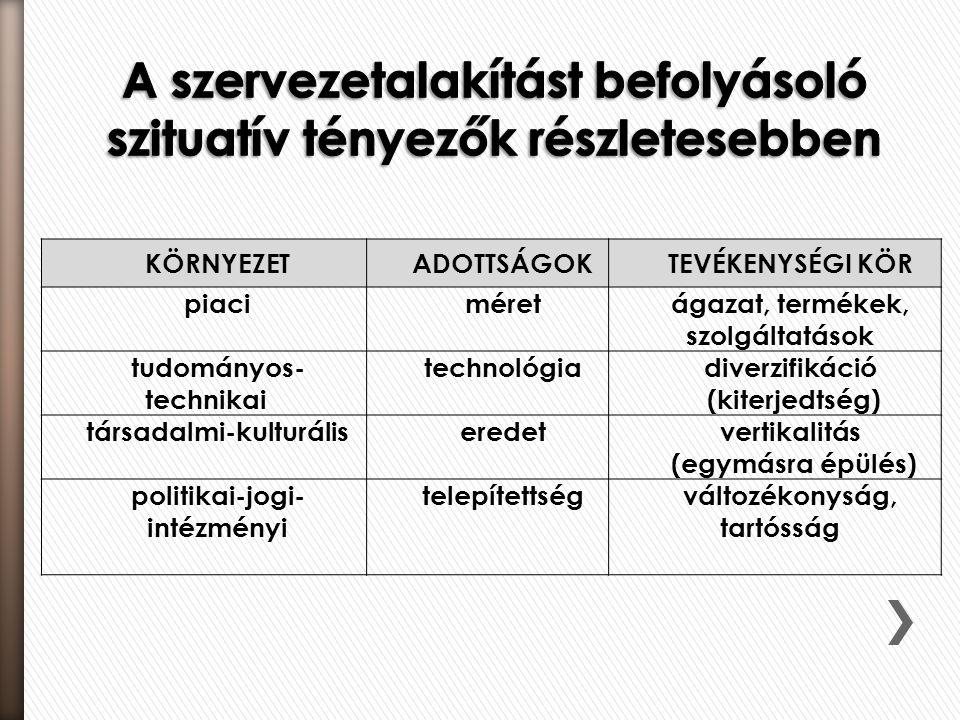 KÖRNYEZETADOTTSÁGOKTEVÉKENYSÉGI KÖR piaciméretágazat, termékek, szolgáltatások tudományos- technikai technológiadiverzifikáció (kiterjedtség) társadal