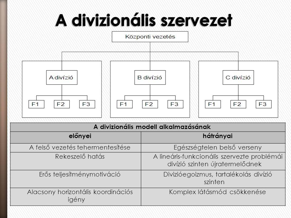 A divizionális modell alkalmazásának előnyeihátrányai A felső vezetés tehermentesítéseEgészségtelen belső verseny Rekeszelő hatásA lineáris-funkcionál