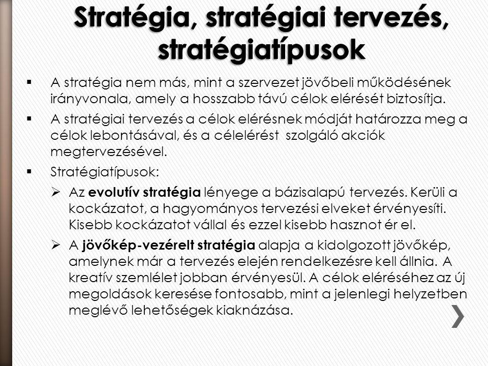  A stratégia nem más, mint a szervezet jövőbeli működésének irányvonala, amely a hosszabb távú célok elérését biztosítja.  A stratégiai tervezés a c